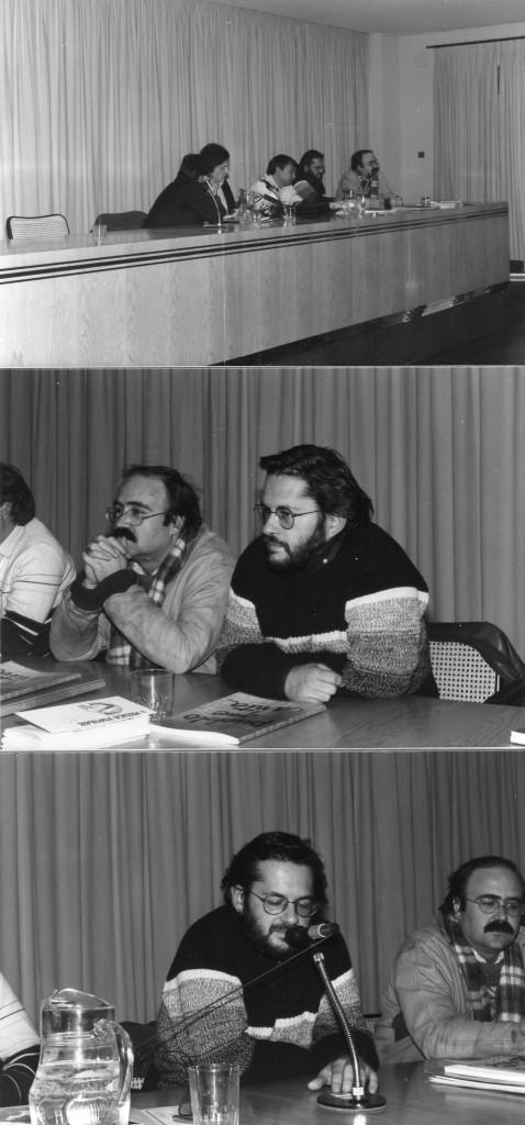 1984. Acto de la Asociación para la Música Popular, junto a Fernando Lucini, Álvaro Feito y Antonio Gómez