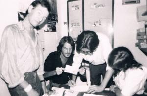 En la oficina inicial, con Aute, Luis Mendo, Paco Villa y creo que la Rubia